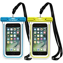 [IPX8 Certificado] iVoler [2 Unidades] Funda Bolsa Móvil Impermeable Universal 6.2 Pulgadas para iPhone X, 8, 8 Plus, 7, 7 Plus,6 / 6s Plus, SE 5S 5C, Samsung Galaxy S9/S9 Plus/S8/S8+/S7/S7 Edge/S6/S6 Edge/Edge+, Huawei P20/P20 Lite/P10/P10 lite, BQ Aquaris, LG, Sony, Motorola, Monedas, Pasaporte, etc. (Azul+Verde)