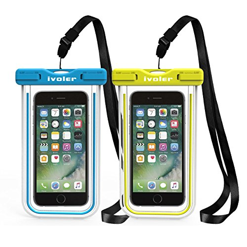 iVoler [2 Pezzi] Custodia Impermeabile Smartphone, IPX8 Borsa Impermeabile Sacchetto Impermeabile Cellulare Dry Bag Universale Waterproof Cover Case per iPhone, Samsung, Huawei, ECC. (Blu+Verde)