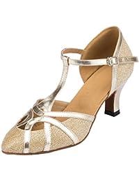 1db7d1e0ca1d MGM-Joymod Womens T-Starp Closed Toe Glitter Synthetic Evening Wedding  Tango Ballroom Modern Latin Dance…