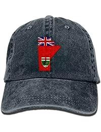 dc5bdd026f042 Vidmkeo Unisex Adulto Mapa de la Bandera de Manitoba Washed Denim Algodón  Deporte Gorra de béisbol al Aire Libre Ajustable Un Tamaño…