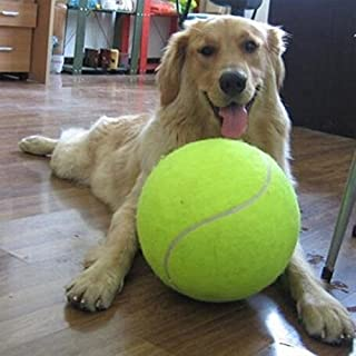 Alxcio Pet Dog Toy Tennis Ball Pet Training Toys Inflatable 9.5 Inch Oversize Giant Durable Rubber Tennis Balls for Children Adult Large Pet Dogs Fun