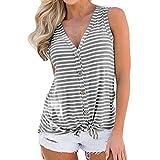 DEELIN Damen Streifen T-Shirt mit Kapuze ärmellosen Elegant Casual Tops Bluse (S, X-Grau)