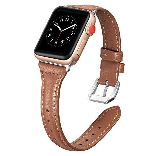 Dolank kompatibel mit Apple Watch Armband 38mm 40mm, Chic&Retro Leder Armbänder Sport Ersatz Uhrenarmband mit Edelstahl Schnalle für iWatch, Nike+, Series 4 3 2 1, Edition Braun