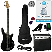 Stretton Payne Electric BASS Guitar C-Bass Maple Neck Full Package. Bass Guitar in Black.