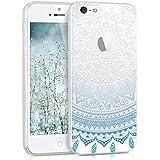 kwmobile Funda TPU silicona transparente para Apple iPhone SE / 5 / 5S en azul blanco transparente Diseño sol indio