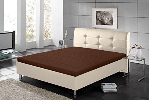 lifestyle4living Polsterbett, Liegefläche 140 x 200 cm, in creme-beige Kunstleder, Füße in Chromoptik
