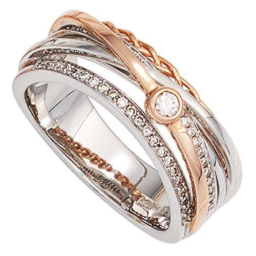 JOBO Damen Ring 585 Gold Weißgold Rotgold kombiniert 48 Diamanten Brillanten ...