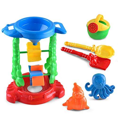 Newin stella 6pcs sandpits sabbia gioca, scherza bambino spiaggia di sabbia sandbeach giocattoli da spiaggia di sabbia giocattoli set con mesh bag, sandbox giocattoli di sabbia wheel and sand stampi