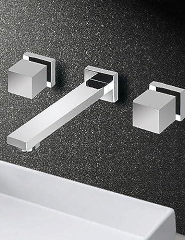ghy Wand montiert Mixer Dual Griff Drei Loch Badezimmer Waschbecken