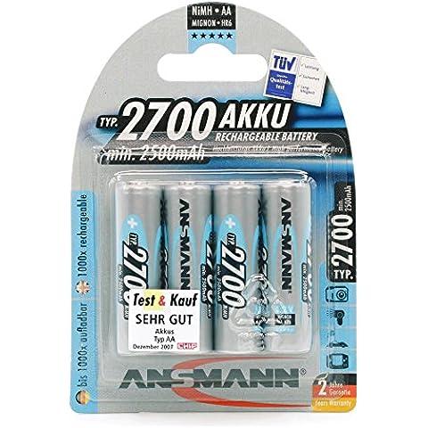 Ansmann 5030842 - Pilas recargables AA (NiMh, 1.2 V, 2700 mAh)