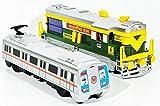#8: 2 combo Locomotive Engine & Metro train toys kit (Green grey)
