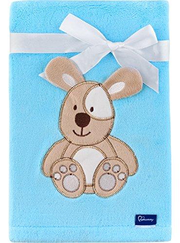 Be Mammy Kuschlige Babydecke Kuschel Decke Tagesdecke mit 3D Applikation 76 x 102 cm BE20-168 (Blau - Hund)