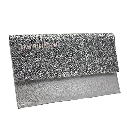 Wocharm Women Ladies Girly HandBags Oversized Faux Leather Clutch Bag Plain  Simple Evening Party Envelope Vintage Designer (Silver)
