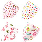 Boieo Cotton Baby Bandana Drool Bibs For Baby Girls With Snaps - Set Of 4 Different Designs (Baby Girls)