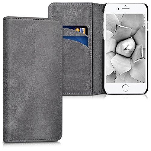 kalibri-Echtleder-Tasche-Hlle-fr-Apple-iPhone-7-Case-mit-Fchern-und-Stnder-in-Dunkelgrau