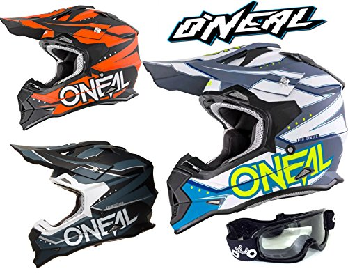 Motorradhelme O'Neal Slingshot 2 Series Motocross Quad ATV Rennhelme Mit X1 Brille - Schwarz/Blau - S