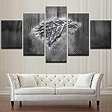 Lienzo Arte de la pared Impresiones Se acerca el invierno Pintura Moderna Imágenes 5 Paneles TV Juego Juego de Tronos Póster Decoración del hogar, 30x40cmx2 30x80cmx1 30x60cmx2