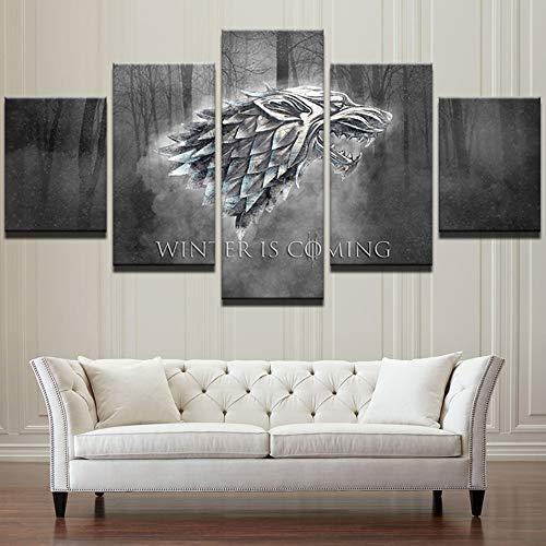 Lienzo Arte de la pared Impresiones Se acerca el invierno Pintura Cuadros modernos 5 Paneles TV Juegue Juego de tronos Póster Decoración del hogar, 20x35cmx2 20x55cmx1 20x45cmx2