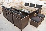 NORDLAND Premium-Gartenmöbel Set Polyrattan für 6+4 Personen inkl. Glasplatten , Schutzabdeckung , Aluminiumgestell und allen Sitzkissen / Polstern - 1 Tisch 6 Stuhl 4 Hocker 16 Polster - Sitzgruppe