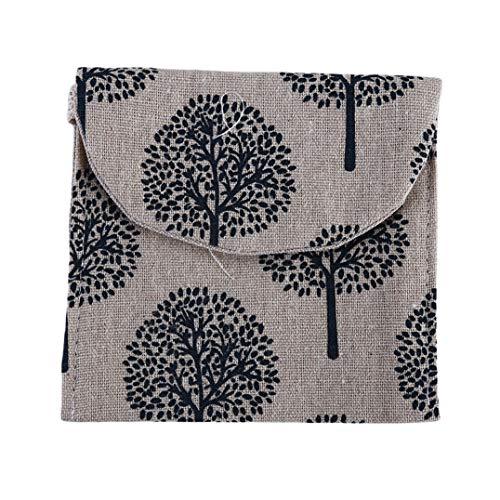Weryffe Tragbare Damenbinden Tasche Niedlich Gedruckt Menstruationstasse Pflege Pad Halter Pouch Organizer Für Frauen (Beige Kiefer)