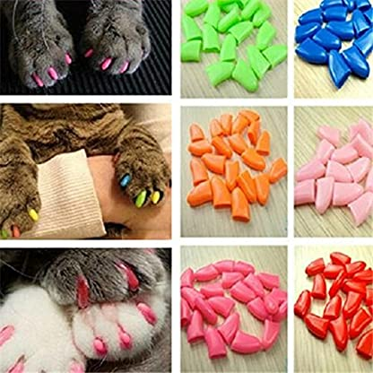 Qiao Niuniu New 20Pcs/Lot Colorful Soft Pet Dog Cats Kitten Paw Claws Control Nail Caps Cover #apowu522# (color: Red… 4