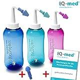 Nasendusche von iQ-med® + Wechselaufsatz | Nasenspülung: Natürliche Hilfe bei Erkältung und Allergien | auch für Kinder geeignet | Nasenspülkanne, Nasen-Dusche, Nasen-kanne, Nasenspülset, Nasen-spülung, Nethi, Neti, Nase Spül-kanne (blau)