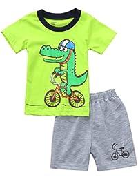 Fossen Ropa Niño Bebe 1-6 años Verano Conjuntos Dibujos Animados de cocodrilo Animal Camiseta Manga Corta y Pantalones Cortos de Cuadros