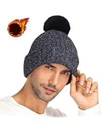 Invierno Cálido Gorros de Punto Mujer Hombre Engrosamiento Cálido Beanie con  Pompón Sombrero Punto Ski 92ca6ee0a285