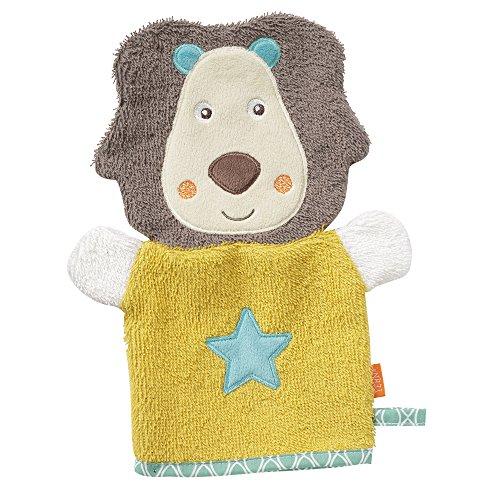 Fehn 066265 Waschhandschuh Löwe / Waschlappen mit Tiermotiv für fröhlichen Badespaß, für Babys und Kinder ab 0+ Monaten