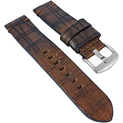 Minott Retro Look, Replacement Watch Strap Leather Band Brown with Taped Edge Grained 30024, Width: 24 mm