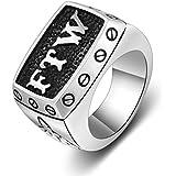 Trendsmax Tono de la motocicleta Hombres Niños Plata Negro Carta tallado del dedo medio del anillo de sello FTW Hasta esqueleto de la mano del acero inoxidable 316L