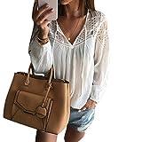 Tefamore Femmes Manche Longue Mousseline de Soie Dentelle Chemisier en Crochet T-Shirt Tops (S, Blanc)