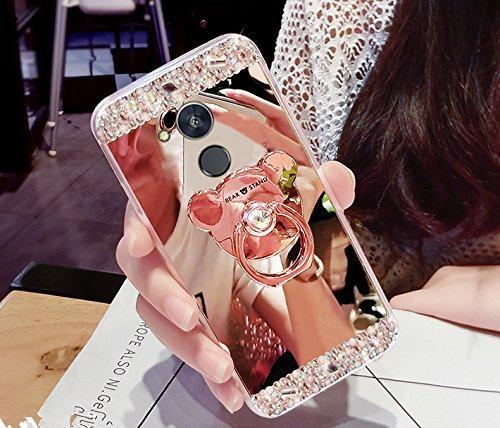 Funda Huawei Honor 6A, funda Huawei Honor 6A, ikasus Bling Diamante Glitter Goma Chapado Espejo Maquillaje Funda con Soporte Oso Soporte Kickstand Suave TPU Parachoques Carcasa para Huawei Honor 6A,