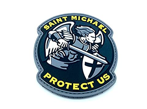 Saint Michael Protect Us Crusader Blau PVC Klett Emblem Abzeichen