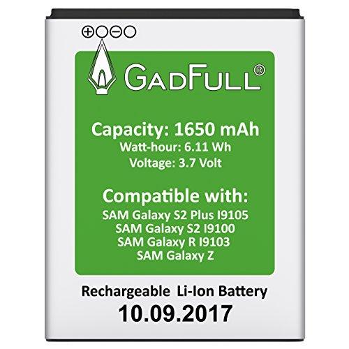 GadFull Batería para Samsung Galaxy S2 | Fecha de fabricación del 2017 | Corresponde al original EBF1A2GBU | Modelo de Smartphone Galaxy S2 i9100 | Galaxy S2 Plus i9105 | Galaxy R i9103 | Galaxy Z | Perfecto como batería de repuesto