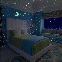 Idea Regalo - Meloive Adesivi murali che Brillano al Buio, 507 Puntini adesivi e 1 Decalcomania luminosa Luna Plus, Decorazioni fluorescenti a soffitto per camerette, Asilo o Party
