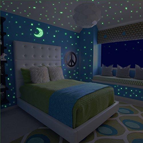Meloive adesivi murali che brillano al buio, 507 puntini adesivi e 1 decalcomania luminosa luna plus, decorazioni fluorescenti a soffitto per camerette, asilo o party
