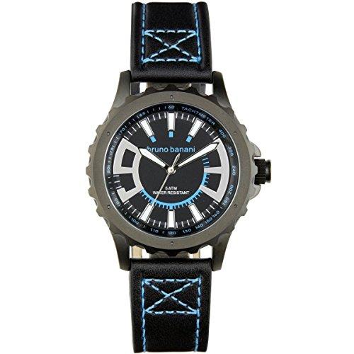 Bruno Banani Men's Quartz Watch Meros Leather Bracelet Black Dial schwarz Trend Watch UBR30021