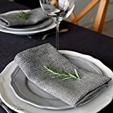 4 x Linen & Cotton Luxus Stoffservietten ''HONEYCOMB'' - 100% Leinen (47 x 47cm) Schwarz/Beige