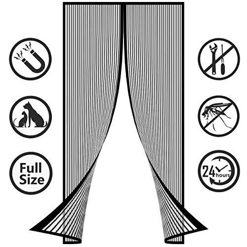 SODKK Tenda Zanzariera Magnetica 165x240cm(64x94inch), Anti Zanzare Calamite Tenda, Velcro Adesivo, Totalmente Magnetica, Aria Fresca in & Keep Bugs out Nero