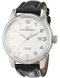 Zeno Watch Basel Pilot Classic 6554-e2 - Reloj de caballero automático, correa de piel color negro