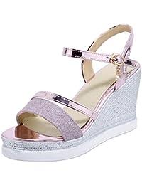 503142a1428b52 COOLCEPT Damen Elegant Knochelriemchen Sandalen Hoch Keilabsatz Open Toe  Slingback Schuhe Gr
