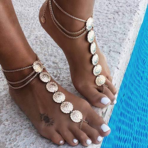 Yean Vintage Totem Fußkettchen Sun Flower Knöchel Armband Strand Gold Schmuck für Frauen und Mädchen