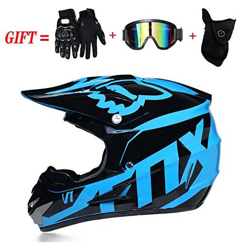 QSWSW Motocross Helm, Helm Safe Full Face Classic Fahrrad Mtb Dh Racing Helm Motocross Downhill Fahrradhelm Capacetes Motocross, für Erwachsene Jugend Junior Kinder Kinder (S(52~55cm), Schwarz blau) - Atv Kinder Blau Helm