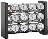 Küchenprofi 2607502812 Gewürzständer rechteckig 12-teilig, Glas, schwarz, 21 x 9 x 29 cm