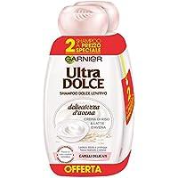 Garnier Ultra Dolce Shampoo Delicatezza d'Avena per Capelli Delicati, con Crema di Riso e Latte d'Avena, Senza Parabeni, 300 ml [Confezione da 2]
