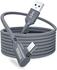 AkoaDa Oculus Quest 2 Link Cable 20ft/6M, Oculus Link Cable With Signal Booster, 90 Degree Angled High Speed D