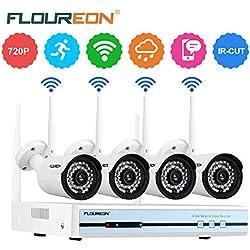FLOUREON 1080P Kit de Surveillance sans Fil, 4CH Système de Sécurité sans Fil, Kit de WiFi Vidéo Système de Caméra Surveillance, 4X 720P Caméras de Surveillance Intérieux/Extérieur IP66 CCTV