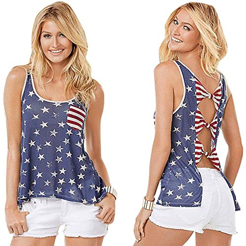 AiBarle Women Loose Tank Top O Neck American Flag Print T-Shirt Sleeveless Tops Vest (Blue, L)