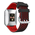 Watchband YuStar New Replacment Hole Design Silicone Breathable Smart Watch Band Strap Bracelet For Fitbit Ionic Heart Rate Tracker Black Red